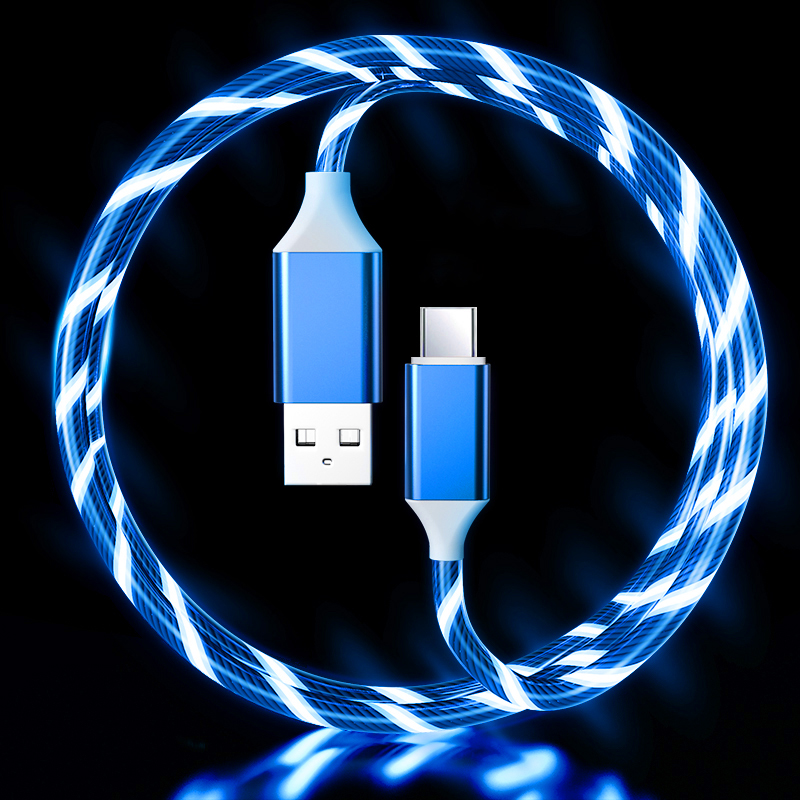 LED Flowing Light Up 3A Fast Charging cable (BLUE) Type C