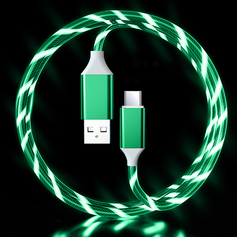 LED Flowing Light Up 3A Fast Charging cable (Green) Type C