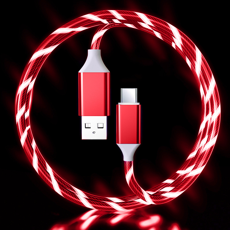 LED Flowing Light Up 3A Fast Charging cable (RED) Type C