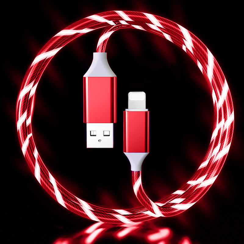 LED Flowing Light Up 3A Fast Charging cable (RED) Lightning